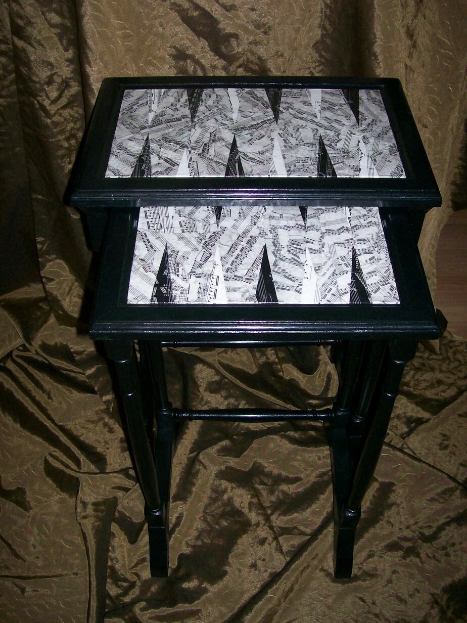 Backgammon Decoupaged Nesting Tables