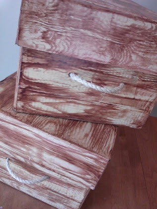Faux Wood Grain Storage Box with Lid