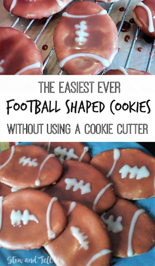 Easy Football Shaped Sugar Cookies without using a cookie cutter | stowandtellu.com