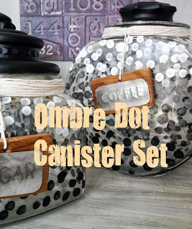 From Black to White Ombre Dot Glass Canister Set