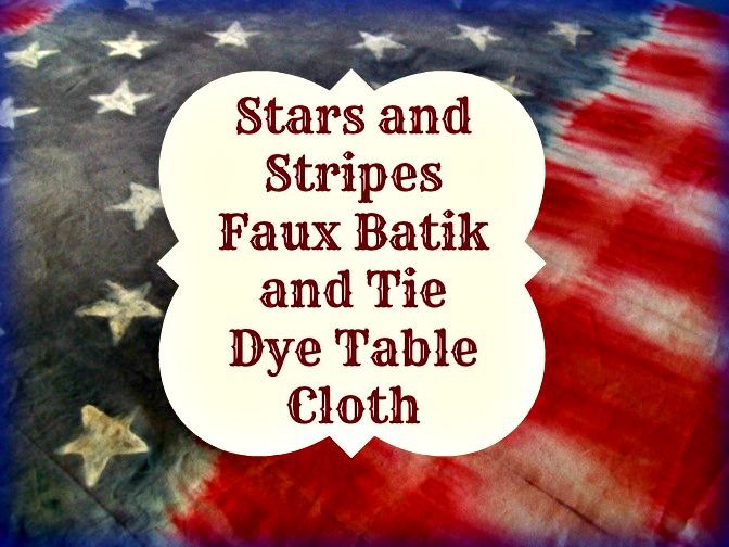 Stars and Stripes Faux Batik Tie Dye Table Cloth