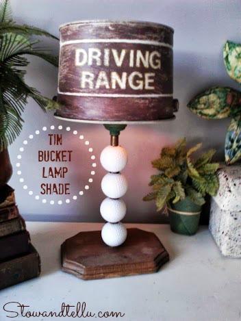 Tin Bucket Golf Lamp Shade