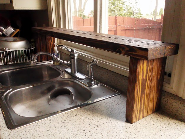 Pallet Wood Over The Sink Window Shelf Kitchen Update 5 Stow Tellu