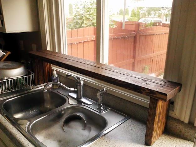 Pallet Wood Over The Sink Window Shelf Kitchen Update 5