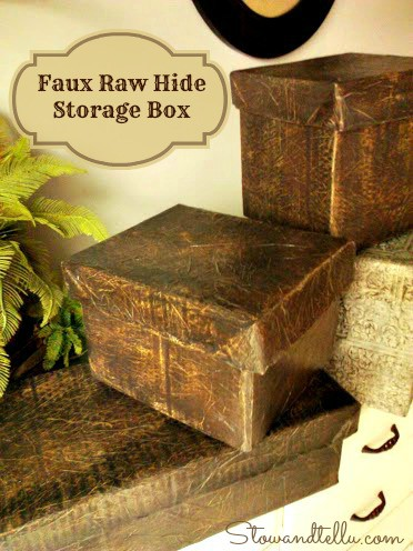 Raw Hide Faux Leather Storage Box with Lid