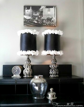 DIY Ruffle Trimmed and Glam Lamp Shades