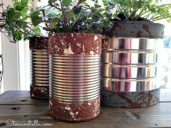 Paint Dipped Soup Cans with splatter paint texture-StowandTellU10a
