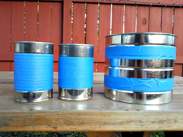 Soup can herb pots-tape cans of and paint