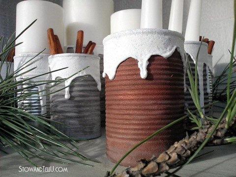Snow Covered Texture and a Soup Can Centerpiece - Stow & Tell U