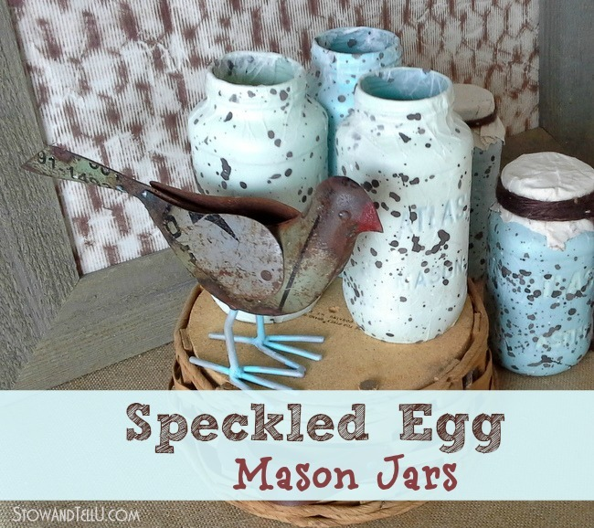 how to make faux speckled egg textured decoupage mason jars