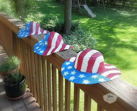 How to make patriotic straw hats | red, white and blue | stars ans stripes | DIY fourth of July hats | Stow and Tell U