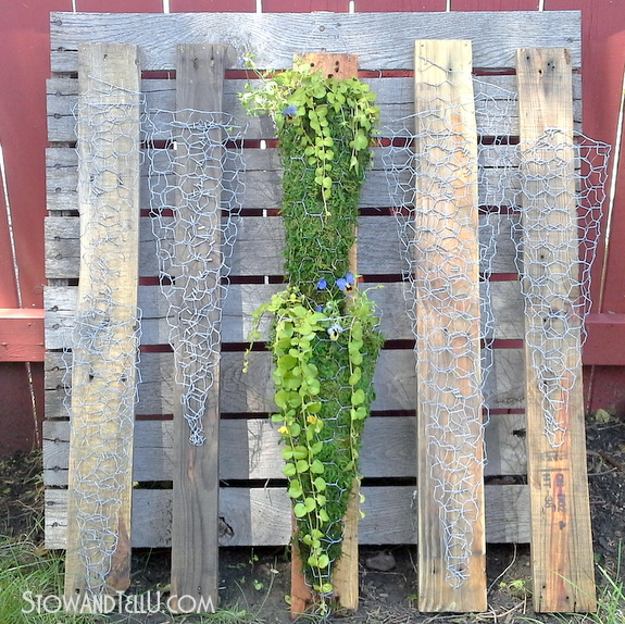 cone-shaped-chicken-wire-pallet-wood-garden-container