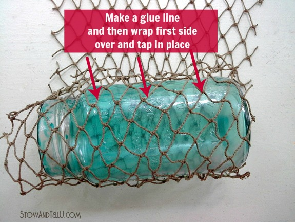 how-to-wrap-fisherman-netting-around-jar
