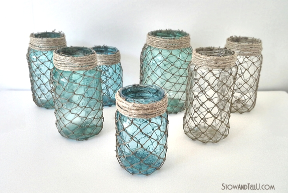 Decorative Fisherman Netting Wrapped Jars Stow TellU