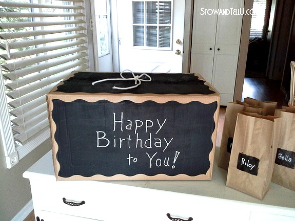 DIY Gift box made with chalkboard paint and card board box