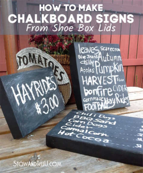 How to Make Chalkboard Signs from Box Lids