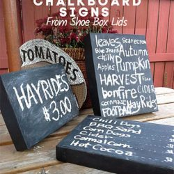Make your own Chalkboard Signs with Box Lids