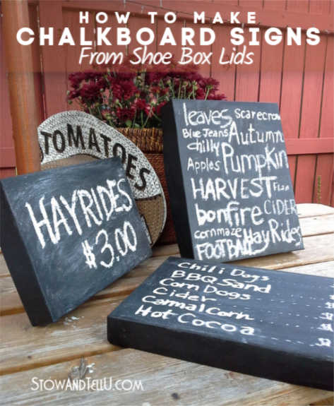 How to make your own Chalkboard Sign from a Card Board Box Lid