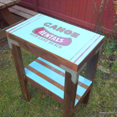 Vintage Canoe Rental Sign Laundry Table