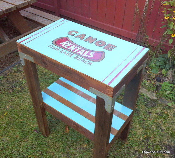 Garden Junk Ideas Galore 2014 Round Up: Vintage Canoe Rental Sign Laundry Table