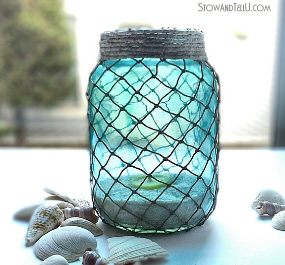 Nautical-coastal-net-covered-jars