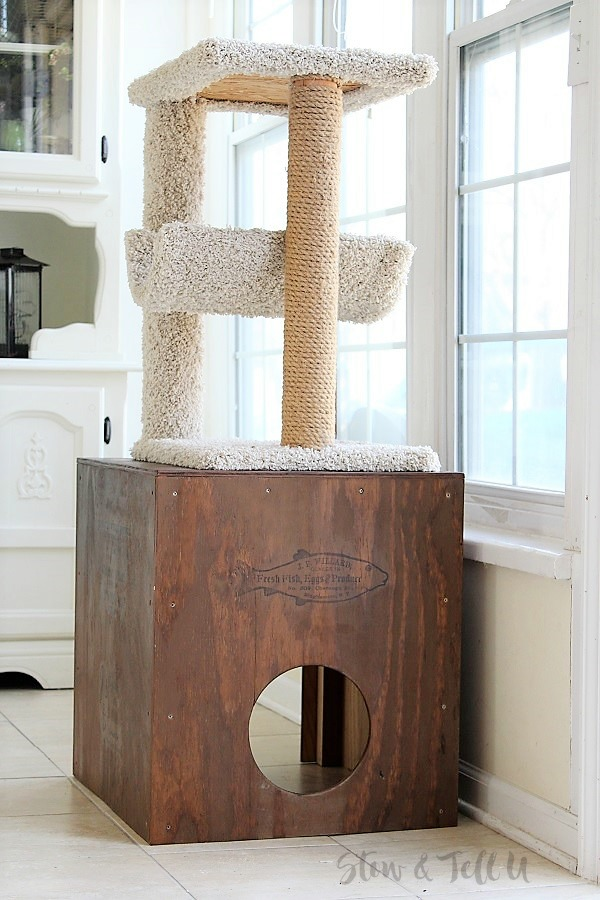 DIY Plywood Cat Cubby | stowandtellu