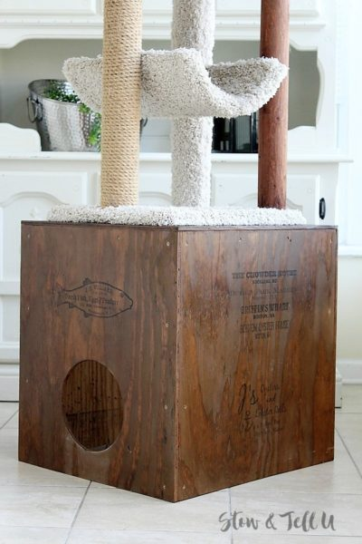 Crate style DIY Wood Cat Cubby House   stowandtellu