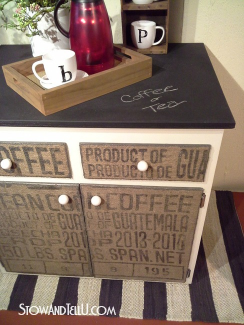 diy-decoupage-burlap-coffee-sack-covered-furniture-http://www.stowandtellu.com