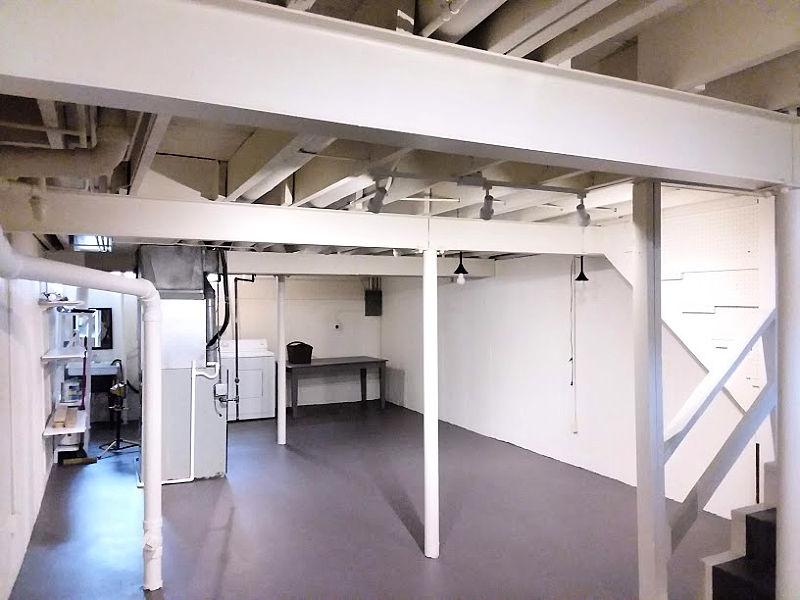 Painted Vinyl Basement Floor - SW Manor House