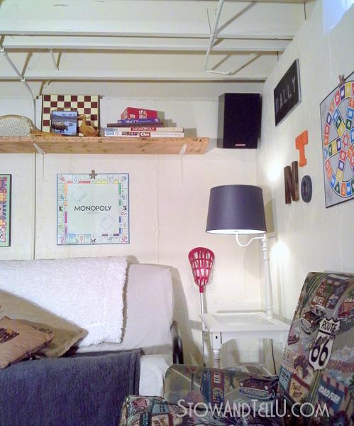 gameroom-decor-shelf-over-couch-https://stowandtellu.com