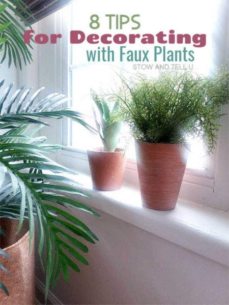 realistic looking faux plants on windowsill