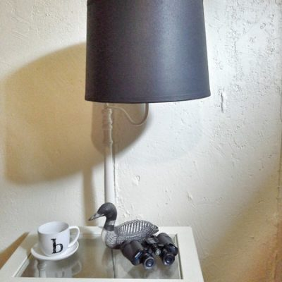 Left Over Primer Painted Table Lamp Makeover