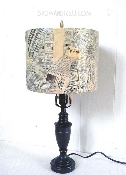old-newspaper-lampshade-with-decoupage-https://stowandtellu.com