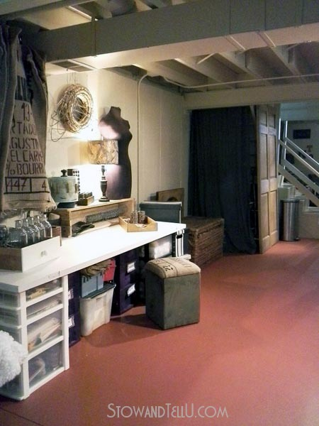 basement-craft-area-repurposed-doors-stowandtellu.com
