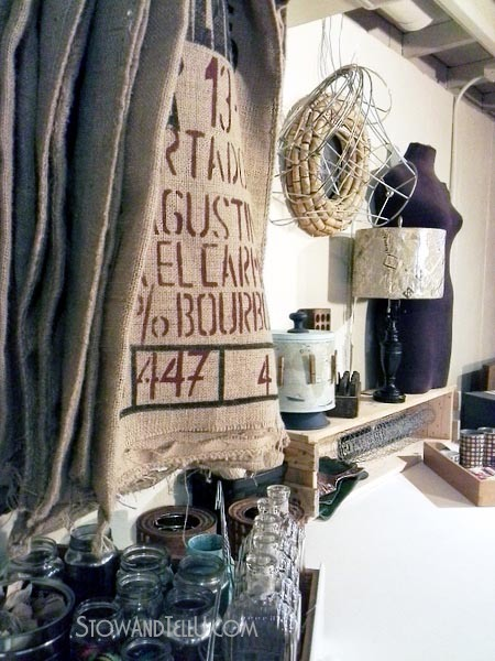 seller-boutique-display-ideas-burlap-coffee-sacks-stowandtellu.com