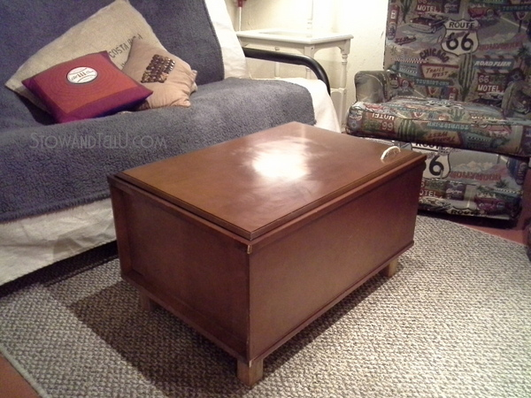 Upcycled kitchen cabinet coffee table stow tellu for Repurposed kitchen table