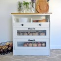 Potato and vegetable bin Ikea Rast hack by Stow and Tell U featuring Pittsburgh Paints and Stains and Hickory Hardware.