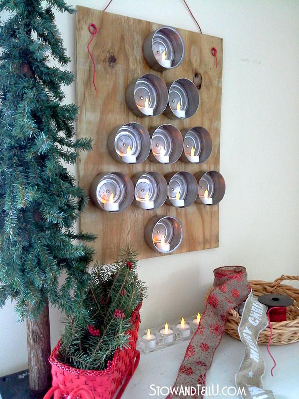 Hanging Tuna Can Lighted Christmas tree