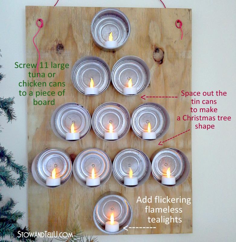 Wall Mounted Lighted Tuna Can Christmas Tree