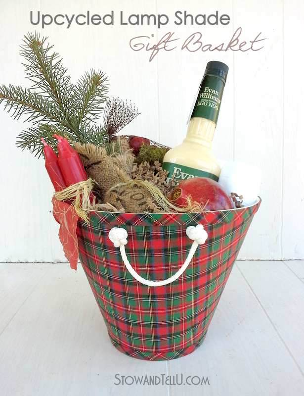 How to turn a lamp shade into a gift basket. Upcycled lamp shade gift basket from Stow and TellU