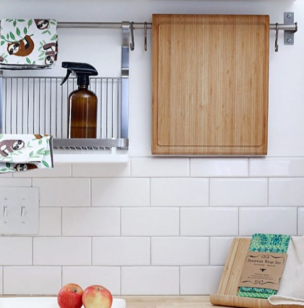 Extra counter space in kitchen wall mount storage