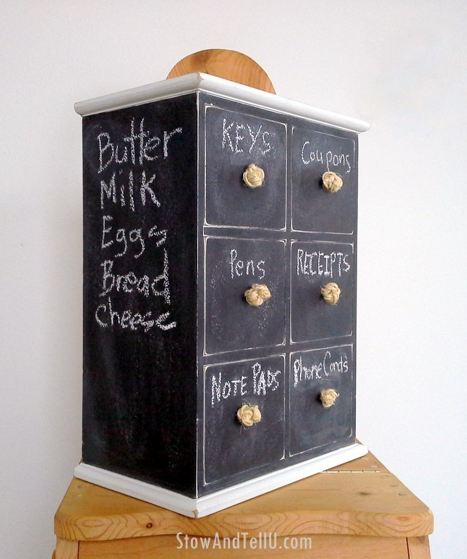 Turn an old mini six-drawer organizer into a dual storage-message center with chalkboard paint from Stow and TellU