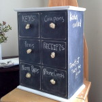 Turn an old mini drawer organizer into a dual storage-message center with chalkboard paint from Stow and TellU