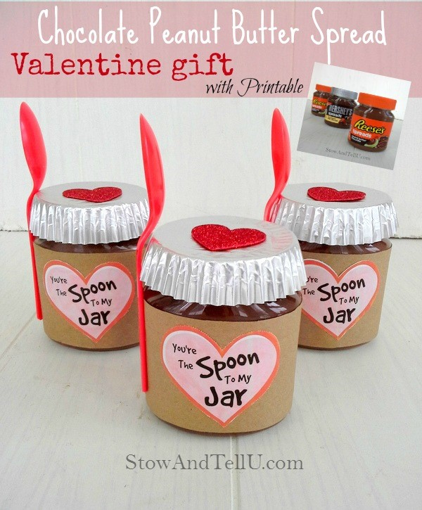 Make a diy Valentine jar gift using Reese's, Hershey's or any other nut butter spread. Includes a printable label - Stow and TellU