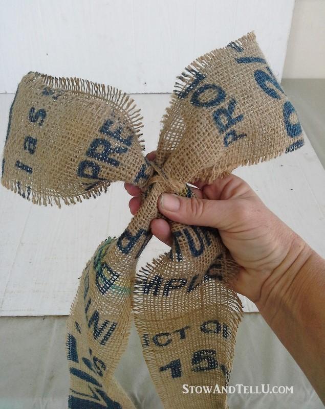 diy coffee, grain or potato sack bow