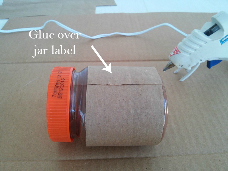 How to make a gift label for a jar from a paper bag, this one is for a Valentine jar gift using Reese's peanut butter chocolate spread from Stow and TellU