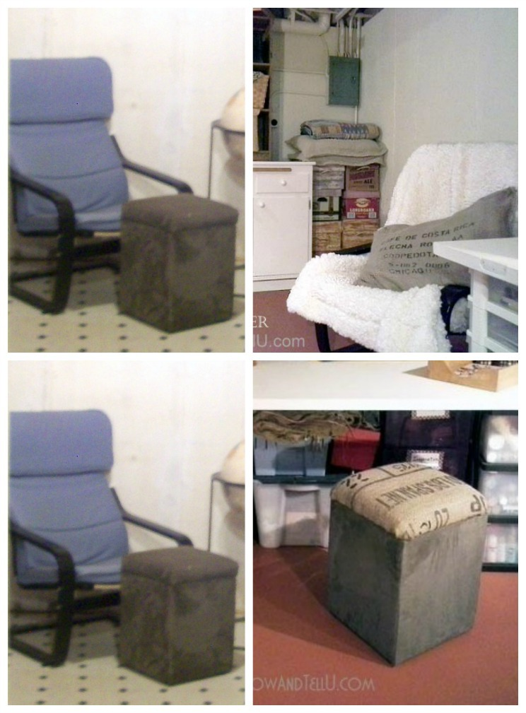 """Updating basement decor with """"use what you have decorating ideas"""", an IKEA chair is covered with a Sherpa throw and an ottoman top is re-covered with a piece of burlap coffee sack - StowandTellU.com"""