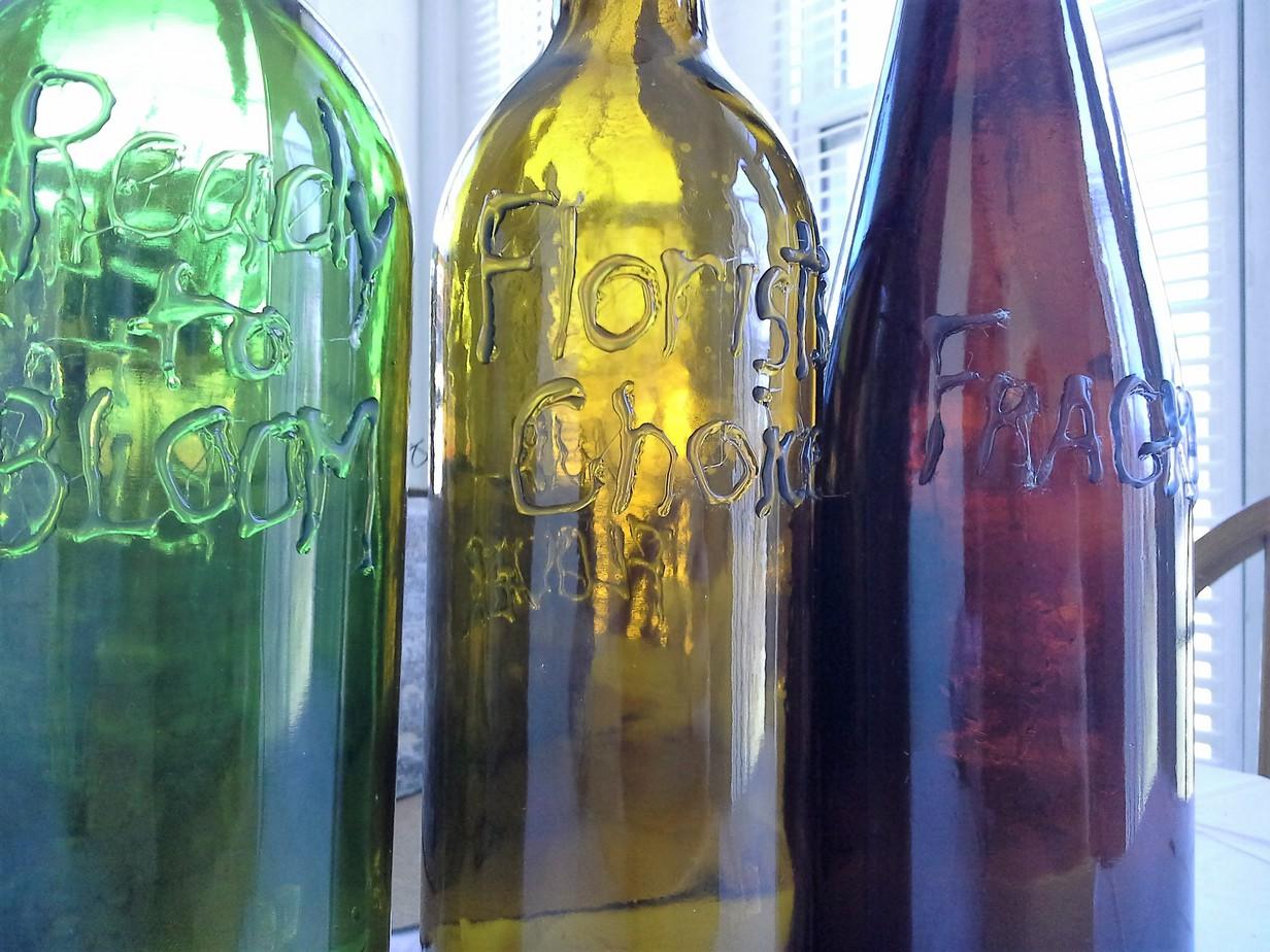 Hot Glue Wording Wine Bottles