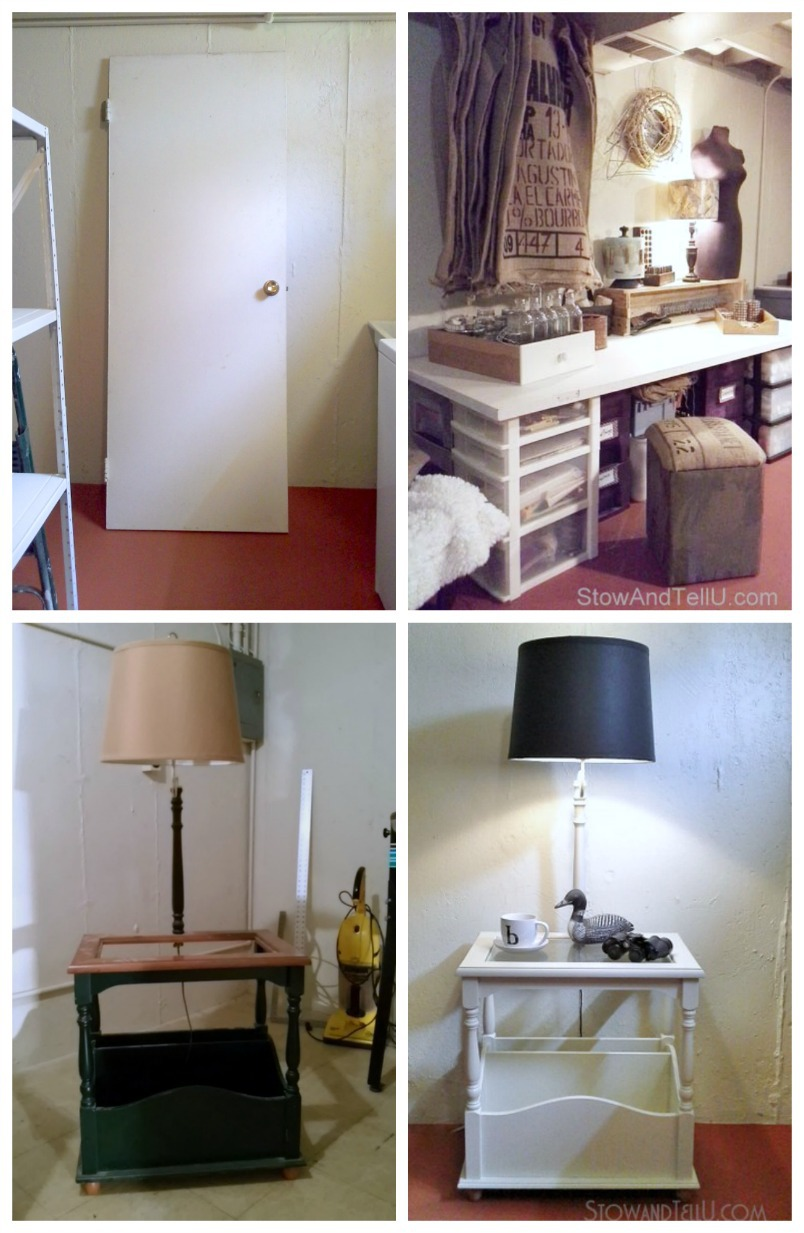 """Repurposed furniture ideas for """"use what you have"""" decorating. An old door and some craft bins are transformed into a craft table; old outdated table lamp gets a fresh look with paint - StowandTellU.com"""
