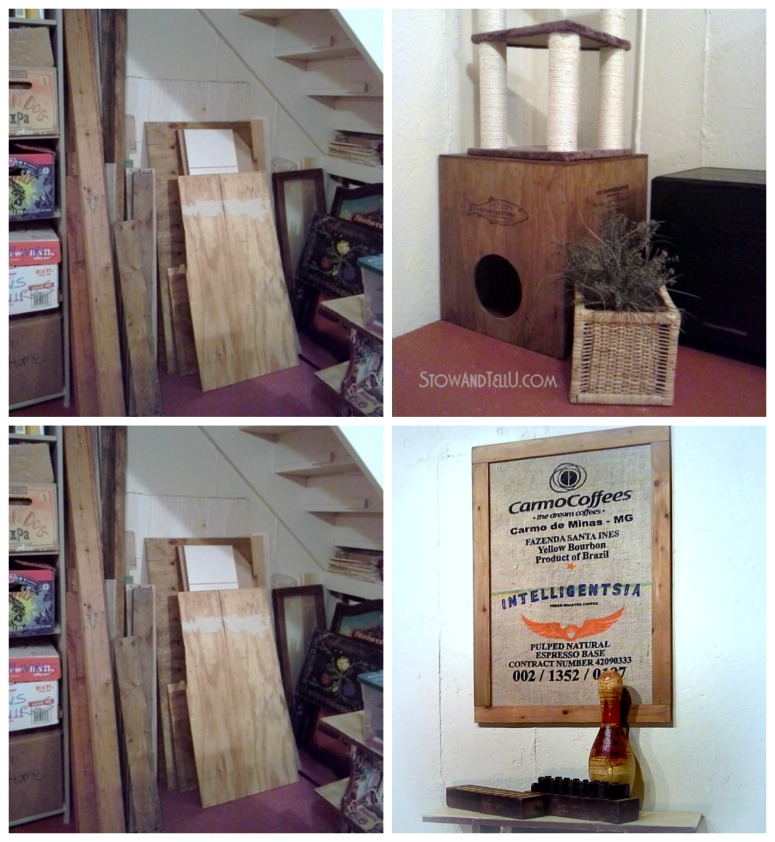 """Salvaged wood is upcycled into several new pieces of basement decor with the """"use what you already have"""" decorating approach - StowandTellU.com"""